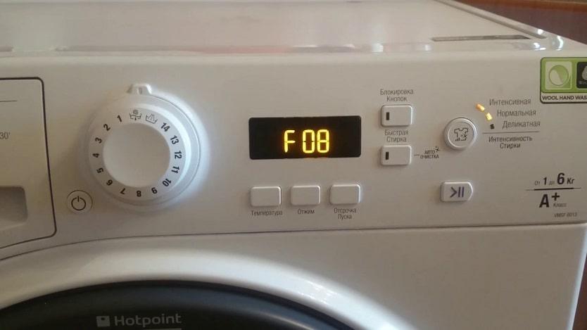 Chyba F8 (F08) v práčke Ariston